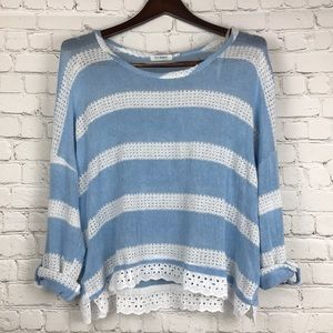L- Anthro slouchy sweater eyelet lace underlay